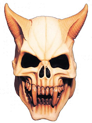 Devil Skull Face With Horns Scary Horror Latex Adult Halloween Costume Mask