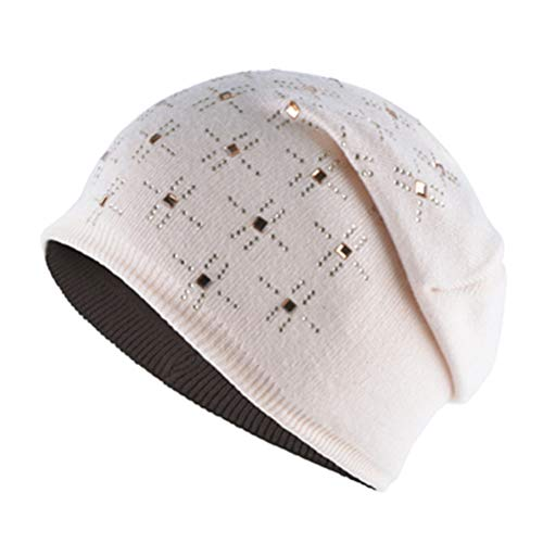 VIKOPER Hair Blended Fabric Hats for Women Beanies Shiny Diamonds Bone Girls Winter Hat Soft Knitted Wool Caps Women's Skullies