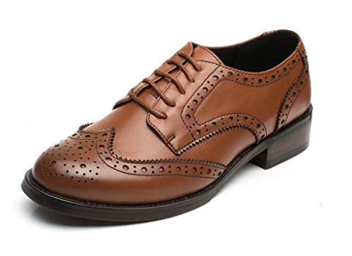 Brown Vintage Leather Footwear - U-lite Womens Brown Perforated Lace-up Wingtip Leather Flat Oxfords Vintage Oxford Shoe BR 7.5