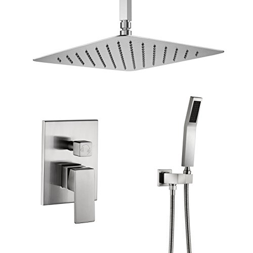 m-12 Inch Ceiling Mount Shower Set with Rain Showerhead and handheld,Shower Faucet Rough-In Valve Body and Trim Included,Luxury Rain Shower Combo Set,Brushed Nickel Finish ()