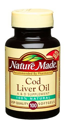 Nature Made Cod Liver Oil with Vitamin A and D, 100 Softgels (Pack of 6)