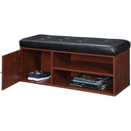 amazoncom wood storage bench with cabinet for concealed storage comfortable faux leather cushion open storage shoe rack entryway living room