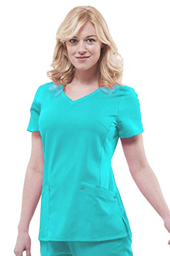 Purple Label Yoga Juliet 2245 V-Neck Scrub Top with Stretch Side Panels- Teal- X-Large