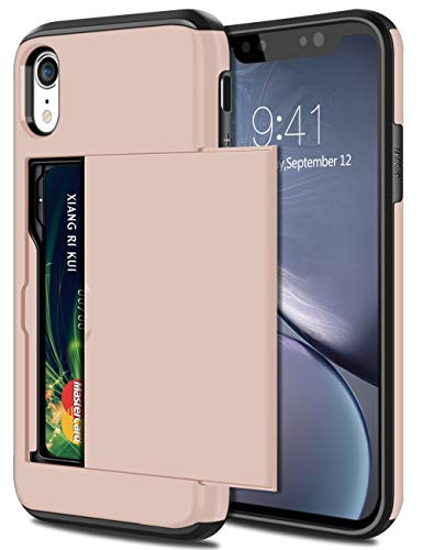 SAMONPOW Wallet Case for iPhone XR Case with Card Holder Protective Case Dual Layer Shockproof Hard PC Soft Hybrid Rubber Anti Scratch Case for iPhone XR 6.1 inch Light Pink
