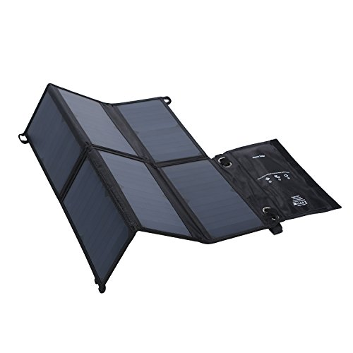 LESHP Highest Efficient Solar Charger 40W Foldable Sunpower Solar Panel Charger Dual Output (5V USB + 12V DC) For StorageBattery, iPhone, iPad, Android Smart Phone by LESHP