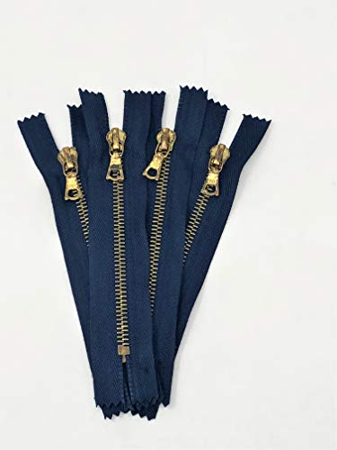 - RiRi Rusted Pocket Zipper 5 Inches Closed Bottom Flach Puller Navy Tape Brass Teeth for Pockets, Wallets, Sleeves, Tops, Jeans, Pants, Bags, Purses, and More!