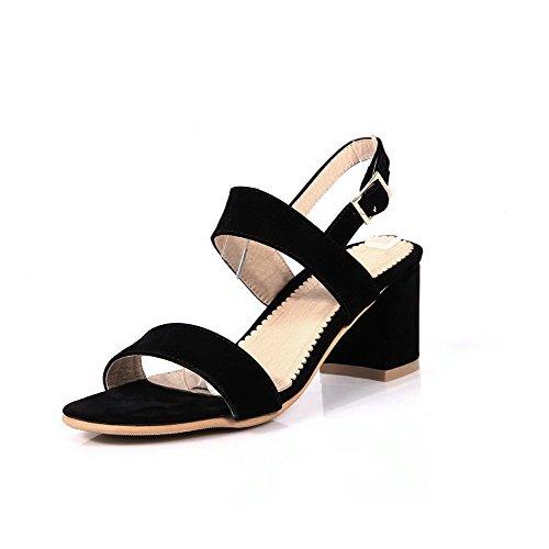 VogueZone009 Mujetes Puntera Abierta Hebilla Sólido Tacón ancho Sandalias de vestir Negro