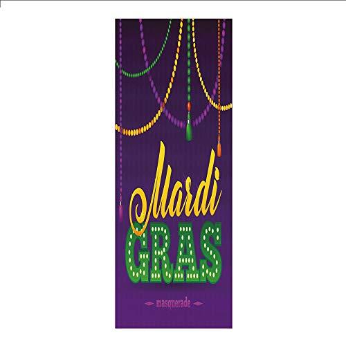 (3D Decorative Film Privacy Window Film No Glue,Mardi Gras,Beads and Tassels Masquerade Theme Calligraphy Design Fun Print Decorative,Purple Marigold Fern Green,for Home&Office)