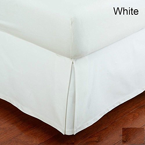 { Queen Size } Split Bed Skirt { 22 Inches Drop } 100% Egyptian Cotton 400 Thread Count Wash Wrinkle & Fade Resistant ( Solid, White ) Queen Detachable Cotton Bedskirt