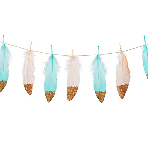 Ling's moment 10FT Feather Garland Rose Gold Glitter Dipped Soft Peach and Blue Feather Banner for Boho Wedding/Party/Baby Shower/Nursery Decor, Teepee -