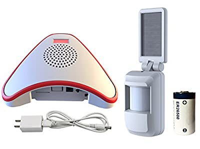 HTZSAFE Solar Wireless Motion Sensor Alarm- 5 Years No Need Replace The Battery- Sensor Included 9000mAh Lithium Battery -Home/Business Driveway Security System With 1 Sensor and 1 Receiver