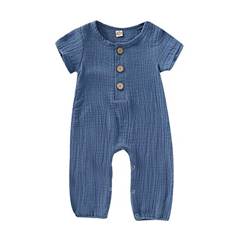 Happy Town One Piece Outfits Baby Solid Color Rompers with Button Kids Short Sleeve Playsuit Jumpsuits Cotton Clothing ()