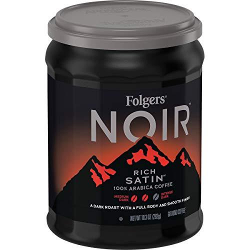 Folgers Noir Rich Satin, Dark Roast, Ground Coffee, 10.3 oz, 6Count