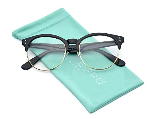 - WearMe Pro - Clear Half Frame Round Retro Non Prescription Glasses