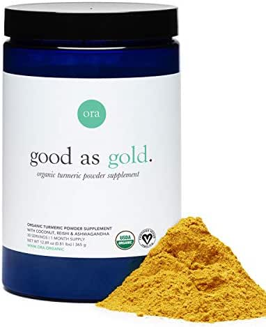 Ora Organic Golden Milk Powder - Ayurvedic Turmeric Latte with Organic Adaptogens - Ashwagandha, Reishi and Ginger - Organic, Gluten-Free, Soy-Free, Vegan, Non-GMO - 30 Servings (1 Month Supply)