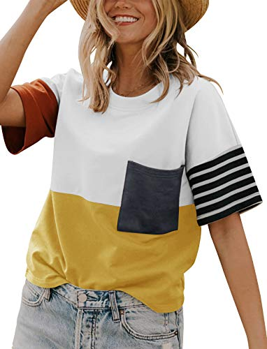 Minclouse Women's Summer Short Sleeves T Shirts Stripe Color Block Casual Tops Cute Crew Neck Tees with Pocket