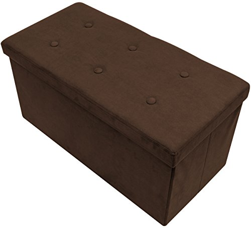 Bench Chocolate - Sorbus Storage Ottoman Bench - Collapsible/Folding Bench Chest with Cover - Perfect Toy and Shoe Chest, Hope Chest, Pouffe Ottoman, Seat, Foot Rest, - Contemporary Faux Suede (Small-Chest, Chocolate)