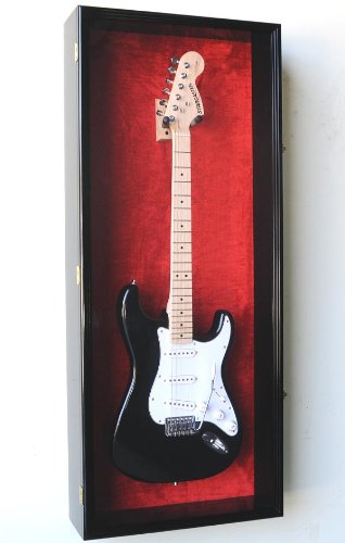 Guitar Fender Display Case Cabinet Wall Rack w/ UV Protection- Lockable -Black (Best Di Box For Electric Guitar)
