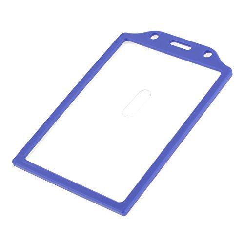DealMux Plastic Clear Front Rear Office School Slide Work Card Holder, Blue