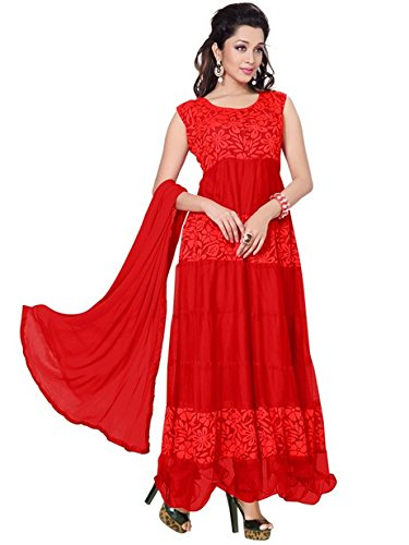 Vibes Women Georgette Salwar Suit Dress Material (V185-1001 _Red _Free Size)