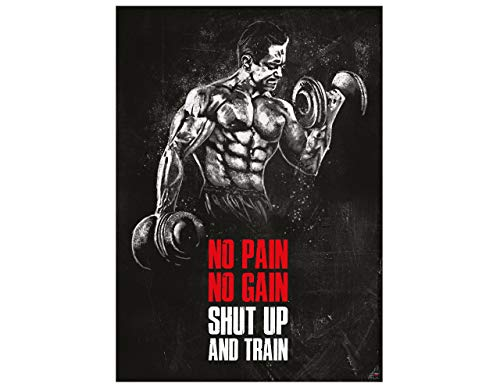 GREAT ART Motivational Workout Poster 24.4x16.5in (59,4x42cm) Gym Fitness Quotes - No Pain no gain Shut up and Train Nr.8