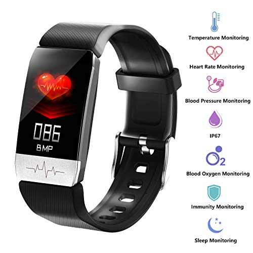 3Cloudge Fitness Tracker Body Temperature Blood Pressure Oxygen Heart Rate Sleep Monitor Step Counter Activity Tracker…