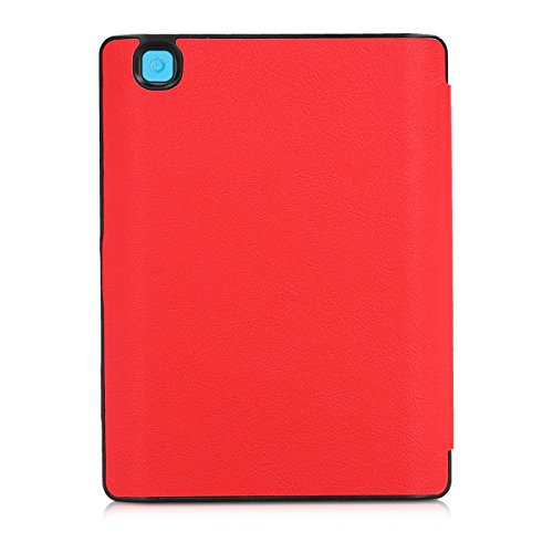 kwmobile Flip cover case for Kobo Aura H2O Edition 2 - imitation leather foldable case in red by kwmobile (Image #3)