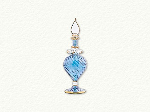 - Blue Swirl Egyptian Blown Pyrex Glass Perfume Bottle Made in Egypt New