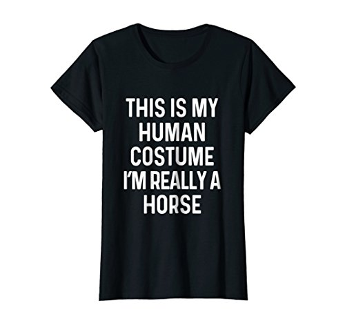 Womens Funny Horse Costume Shirt Easy Halloween Idea Large Black for $<!--$19.99-->