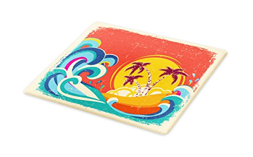 Lunarable Vintage Hawaii Cutting Board, Vintage Old Paper Style Tropical Island with Giant Waves Retro Background, Decorative Tempered Glass Cutting and Serving Board, Large Size, Multicolor by Lunarable