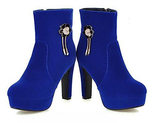 Easemax Kvinna Elegant Rhinestone Fast Roundtoe Dragkedja Tjock Hög Klack Plattform Boots Blue
