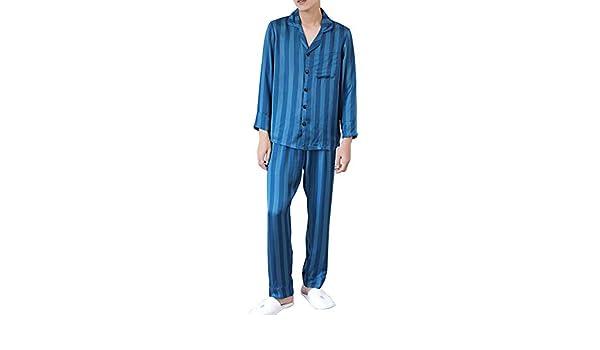 V1 Clothing CO Traje de Pijama, Pijama de Manga Larga con Traje de Seda, Juego Casual de 2 Piezas de Muebles para el hogar de otoño e Invierno de Hombre Pijamas: Amazon.es: