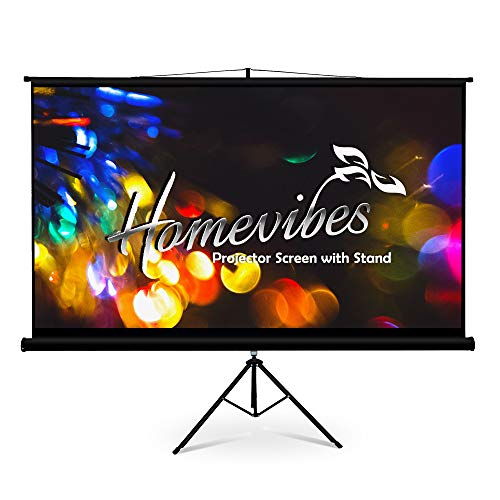 Homevibes 100 inch 16:9 Projector Screen with Stand Pull Up Portable Tripod Movie Screen Video Projection Screen for Home Theater Outdoor, 4K 3D HD Matte White Manual Adjustable Aspect Ratio, 1.3 Gain