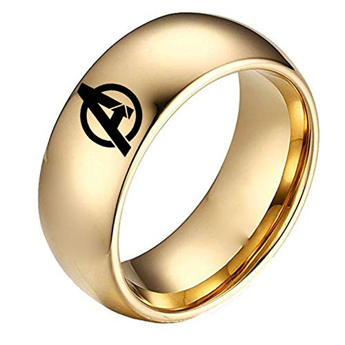 HPY Avengers Titanium Steel Ring Endgame Accessories Ring Curved Glossy 8mm Unisex, Gold 7]()