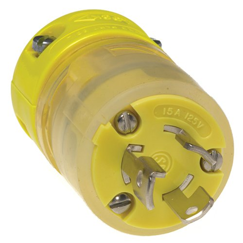 Woodhead 2447EZ Super-Safeway Lighted Plug, Ground Continuity Monitor, Industrial Duty, Locking Blade, 2 Poles, 3 Wires, NEMA L5-15 Configuration, Rubber, Yellow, 15A Current, 125V Voltage by Woodhead