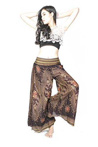 Cotton Rose, Palazzo Pants for Women Petite, to Regular US 2-12, Cullotes for Women, Buddha Pants, Gypsy Pants, Thai Pants, Hippie Pants, Boho Pants (PPdW Wood)