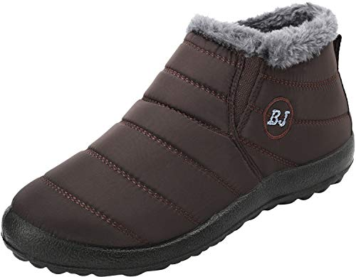 FEETCITY Men Slip On Waterproof Outdoor Anti-Slip Fur Lined Ankle Snow Boots Coffee 10 D(M) US