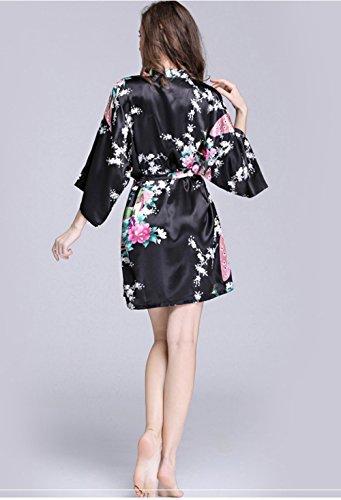 da stampa raso pavone camicia estate donna sleepshirts seta casual da elegante casa primavera accappatoio confortevole in notte Nero Sleepwear in aPw0Y1