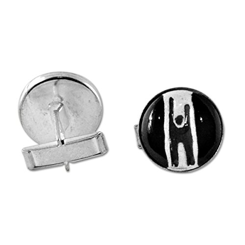 EvolveFISH Humanist Ceramic Black Cufflinks - 3/4 Diameter (Mens Cufflinks Ceramic)
