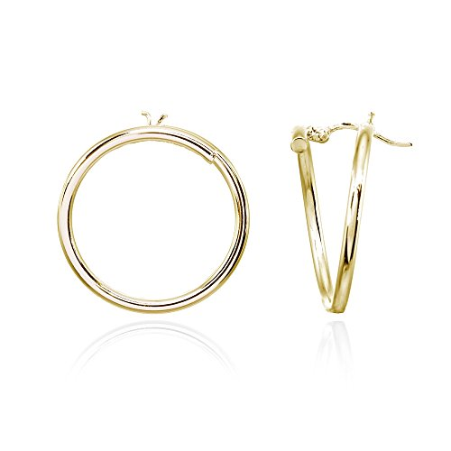 Yellow Gold Flashed Sterling Silver 25mm Polished Open Circle Frontal Hoop Stud Earrings ()