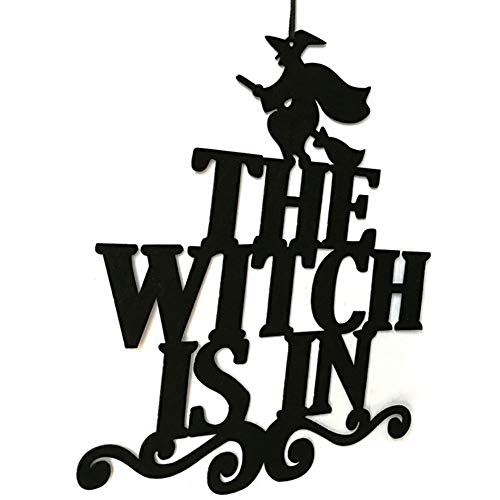 (Pumsun_Halloween Hanging Sign Door Hanging Halloween Decoration The Witch is in)