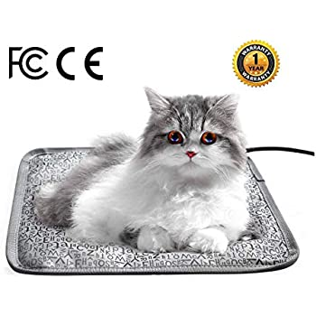 HYDGOOHO Cat Heating Pad 17.7x17.7inch Letter Electric Heated Pet Mat for Cats Dogs with Chew Resistant Steel Cord