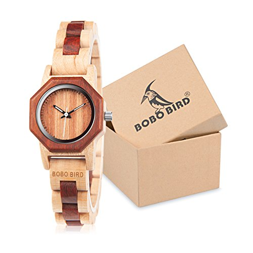 BOBO BIRD Women's 27MM Handmade Wooden Watch Exquisite Lightweight Wristwatch Natural Red Sandalwood with Bracelet Clasp Watches with Gift -