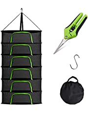 GENGROWSUN 2ft 6 Layer Herb Drying Rack Plant Hanging Mesh Dry Net W/Green U Type Zipper For Drying Herb Flower,With Hook,Pruning Shears