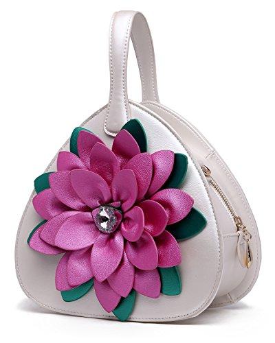 Filles Portés Bandoulière Sac Fleurs Cuir Blanc Main Main KAXIDY Sacs à Sacoche Sac à PU Femme UwRfz7q