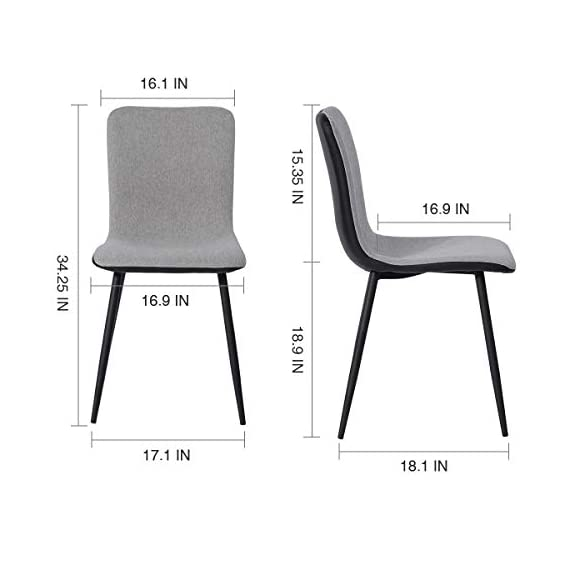 Coavas Dining Chairs Set of 4, Kitchen Chairs with with Fabric Cushion Seat Back, Black Washable PU Back and Metal Legs, Modern Mid Century Living Room Side Chairs - Best Christmas Gifts for Family and Friends. Epic Deals for Black Friday and Cyber Monday! WASHABLE PU FAUX LEATHER🍅🍅🍅---The back of the ergonomic seat shells is made of washable PU faux leather, dyed in stunning and elegant matte black. PU is waterproof and washable. Set of 4 dining room chairs -COMFORTABLE & BREATHABLE - Wear proof thicken padding upholstered chair seat and back, Each bottom leg is equipped with an anti-scratches and anti-noise rubber pad to protect your floor. Set of 4 dining room chairs - STURDINESS & DURABILITY - 4 metal tube with wooden transfer legs, or paint it in a color you prefer. Sturdy X-shaped support to the seat, strong bearing strength, Maximum weight capacity: 250 lbs. - kitchen-dining-room-furniture, kitchen-dining-room, kitchen-dining-room-chairs - 412MgUUXK5L. SS570  -