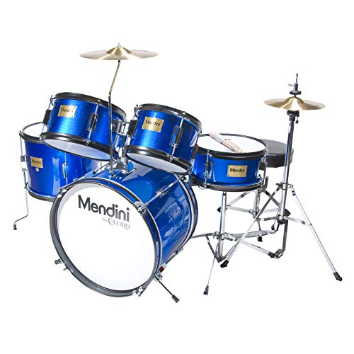 Mendini by Cecilio 16 inch 5-Piece Complete Kids / Junior Drum Set with Adjustable Throne, Cymbal, Pedal & Drumsticks, Metallic Blue, MJDS-5-BL (Best Drum And Bass Set Ever)