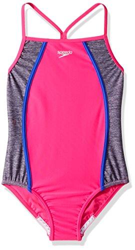 - Speedo Girls Heather Thin Strap, Pink, Size 10