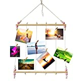 Yeyo Wood Hanging Photo Display Wall Collage, Dangle Multi Picture Frame with 30 Wooden Clips for Home Bedroom Dorm Decor (Pink Bead)