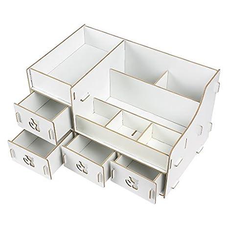 Amazon.com : Madera cosmética de maquillaje organizador de la joyería Caja de almacenamiento de bricolaje Color Crema : Office Products